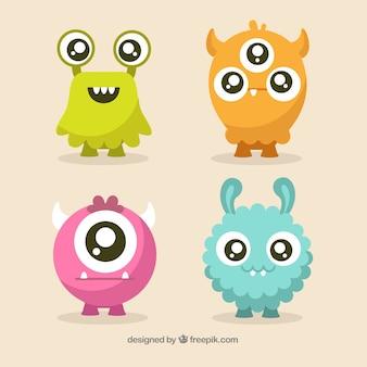 Set de lindos personajes de monstruos