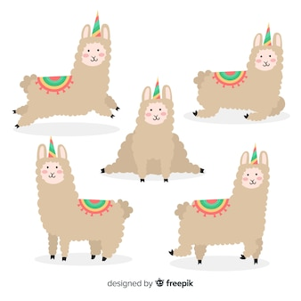 Set de llamas en estilo kawaii con apariencia de unicornio