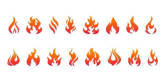 Set llamas de fuego rojas y naranjas para diseño gráfico y web. símbolo de moda para el botón web de diseño de sitios web o aplicaciones móviles