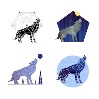 Set de lobo aullando
