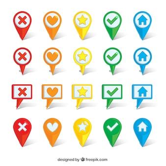 Set de localizadores de colores en diseño plano