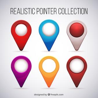 Set de localizadores realistas de colores