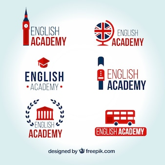 Set de logos de academia de inglés