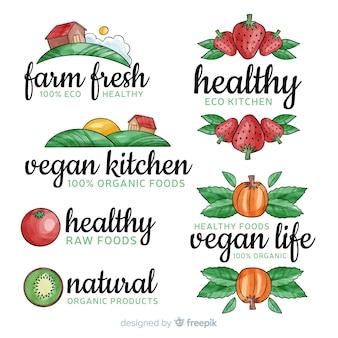 Set logos acuarela comida sana