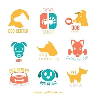Set de logos de colores para perros