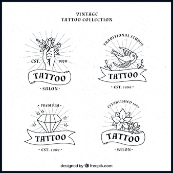 Set de logos de estudios de tatuajes dibujados a mano