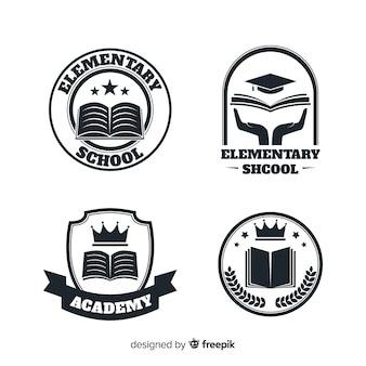 Set de logos o insignias para academias o escuelas de primaria