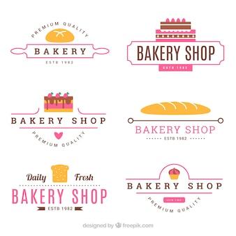 Set de logos de panadería en estilo plano