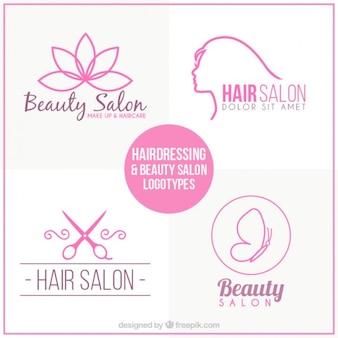 Set de logos de peluquería dibujados a mano