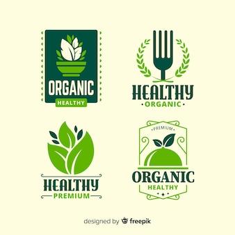 Set logos planos comida sana