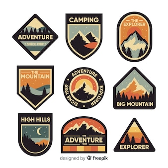 Set de logos retros de aventuras