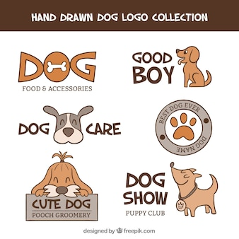 Set de logos de veterinaria dibujados a mano