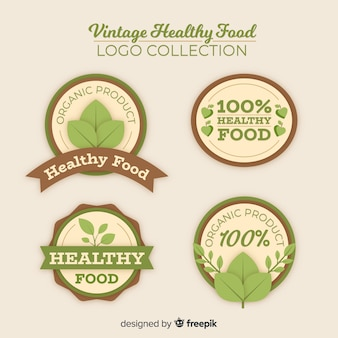 Set logos vintage comida sana