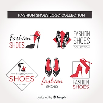 Set de logos de zapatos con estilo