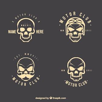 Set de logotipos de calaveras dibujadas a mano
