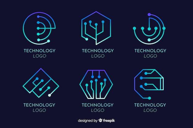 Set de logotipos de concepto tecnológico de estilo degradado
