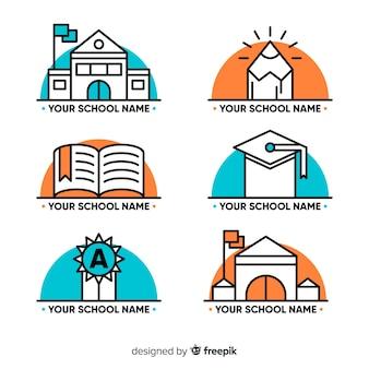 Set de logotipos escolares dibujados a mano