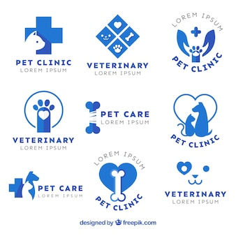 Set de logotipos planos azules de veterinaria