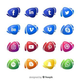 Set de logotipos de redes sociales de estilo degradado