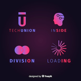 Set de logotipos tecnológicos geométricos con efecto degradado