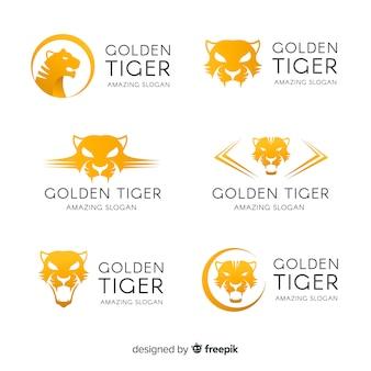Set de logotipos de tigres dorados