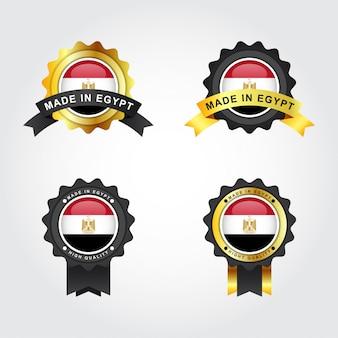 Set made in egypt con etiquetas de emblema distintivo