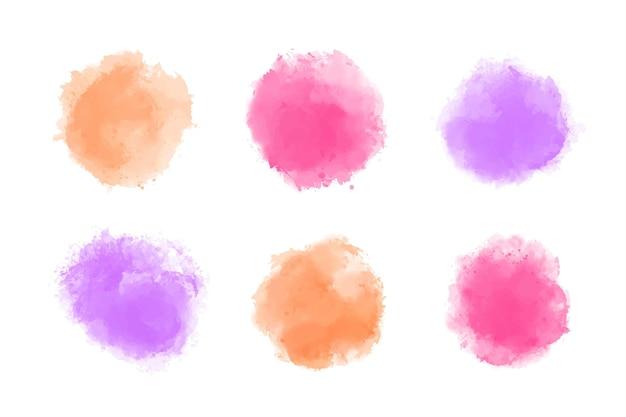 Set de manchas de acuarela pintadas a mano.