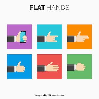 Set de manos de hombre de negocios en diseño plano