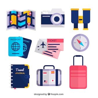 Set de mapa y otros elementos de viaje en diseño plano