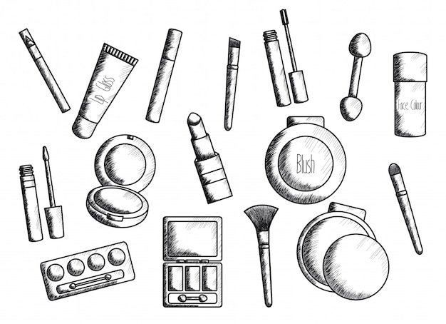Set de maquillaje accesorios de dibujo.