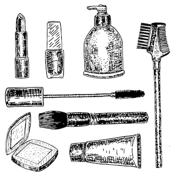 Set de maquillaje y cosméticos dibujados a mano con tinta
