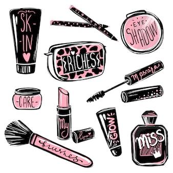 Set de maquillaje. cosméticos elementos de belleza. hermosa ilustración de moda