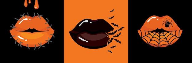 Set de maquillaje de labios de halloween telaraña, murciélagos, araña, costura, sangre.