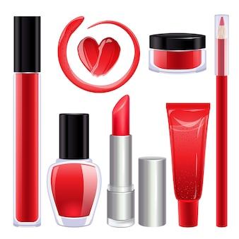 Set de maquillaje para labios y uñas.
