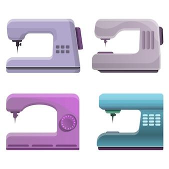 Set de máquinas de coser, estilo de dibujos animados
