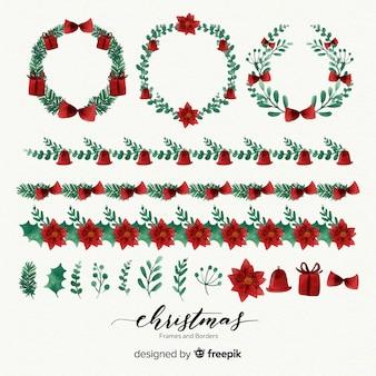 Set de marcos y bordes navideños