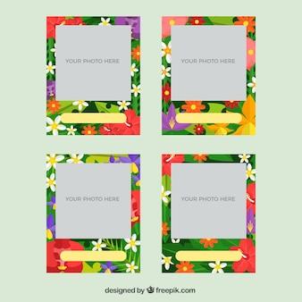 Set de marcos de fotos con flores tropicales