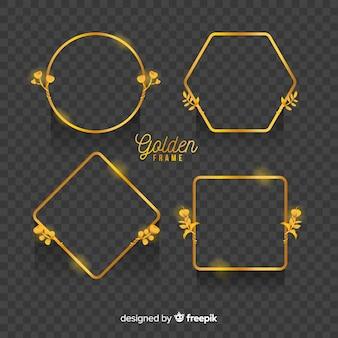 Set marcos geométricos dorados con efectos de luz