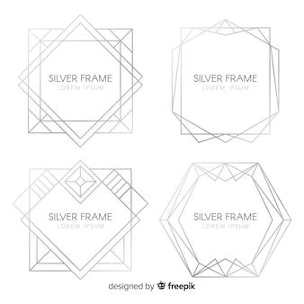 Set marcos plateados textura metálica