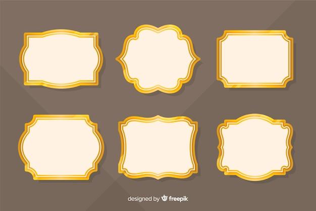 Set de marcos retro dorados