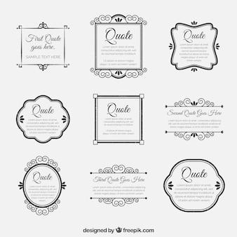 Set de marcos retro ornamentales de citas