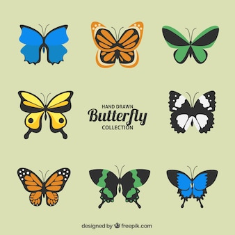 Set de mariposas coloridas
