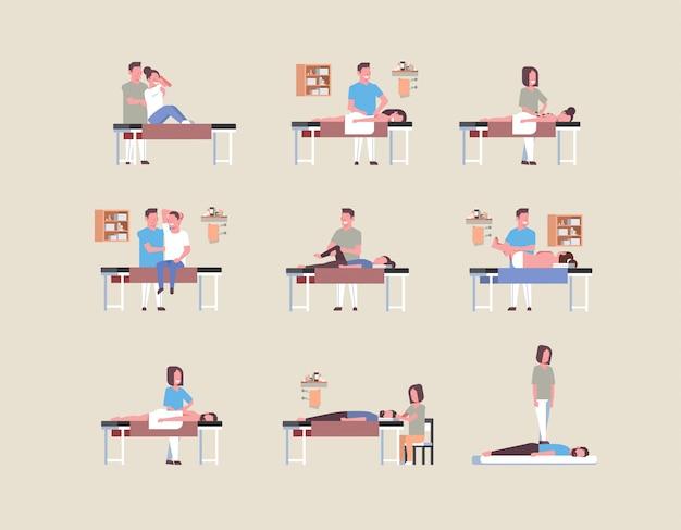 Set masajistas terapeutas haciendo tratamiento curativo masajeando hombres y mujeres pacientes cuerpo terapia manual fisioterapia conceptos colección de cuerpo entero