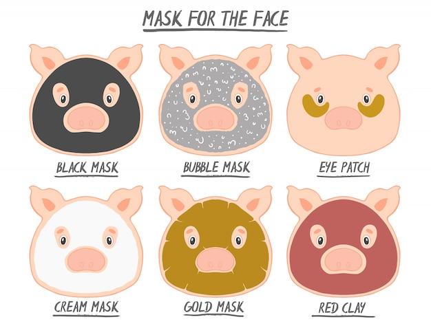 Set máscara cara belleza animal cerdo niña y mujeres. procedimiento de spa de piel, limpieza cosmética.
