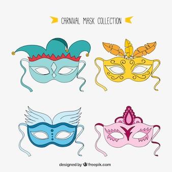 Set de máscaras de carnaval dibujadas a mano