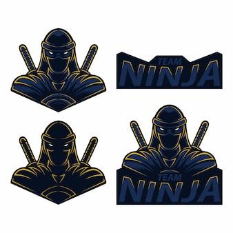 Set mascota logo esport ninja