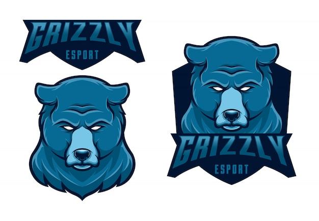 Set mascota logo grizzly esport