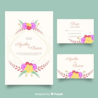 Set de material de papelería de boda en diseño plano