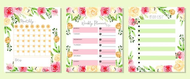 Set mensual semanal y lista de flores de acuarela.