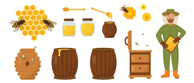 Set de miel y apicultura. apicultor con panales, colmena, abejas y miel. ilustración de iconos sobre fondo blanco.